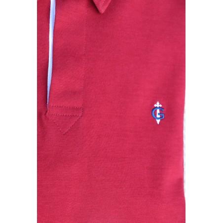 Polo bordeaux rouge manches longues GAULOIS FRANCE pour homme  100% conçu fabriqué en France