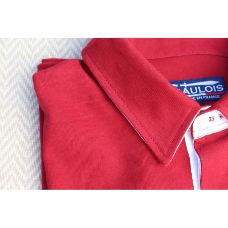 Polo homme rouge manches longues GAULOIS FRANCE pour homme 100% conçu fabriqué en France. Revers de col blanc