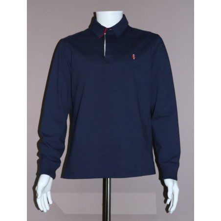 Polo homme bleu manches longues GAULOIS FRANCE pour homme 100% conçu fabriqué en France. Col drapeau bleu blanc rouge