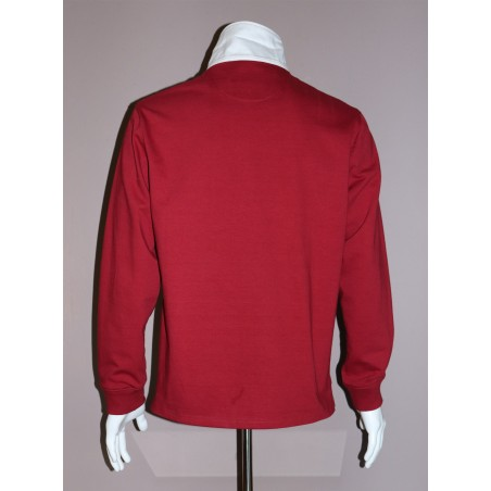 Polo homme bordeaux rouge manches longues GAULOIS FRANCE pour homme 100% conçu fabriqué en France. Revers de col blanc