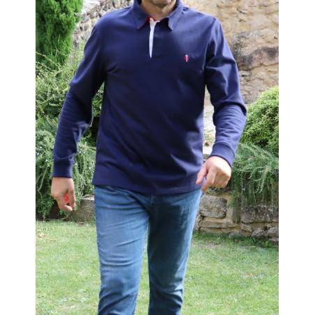 Polo bleu manches longues GAULOIS FRANCE pour homme col bleu blanc rouge  100% conçu fabriqué en France