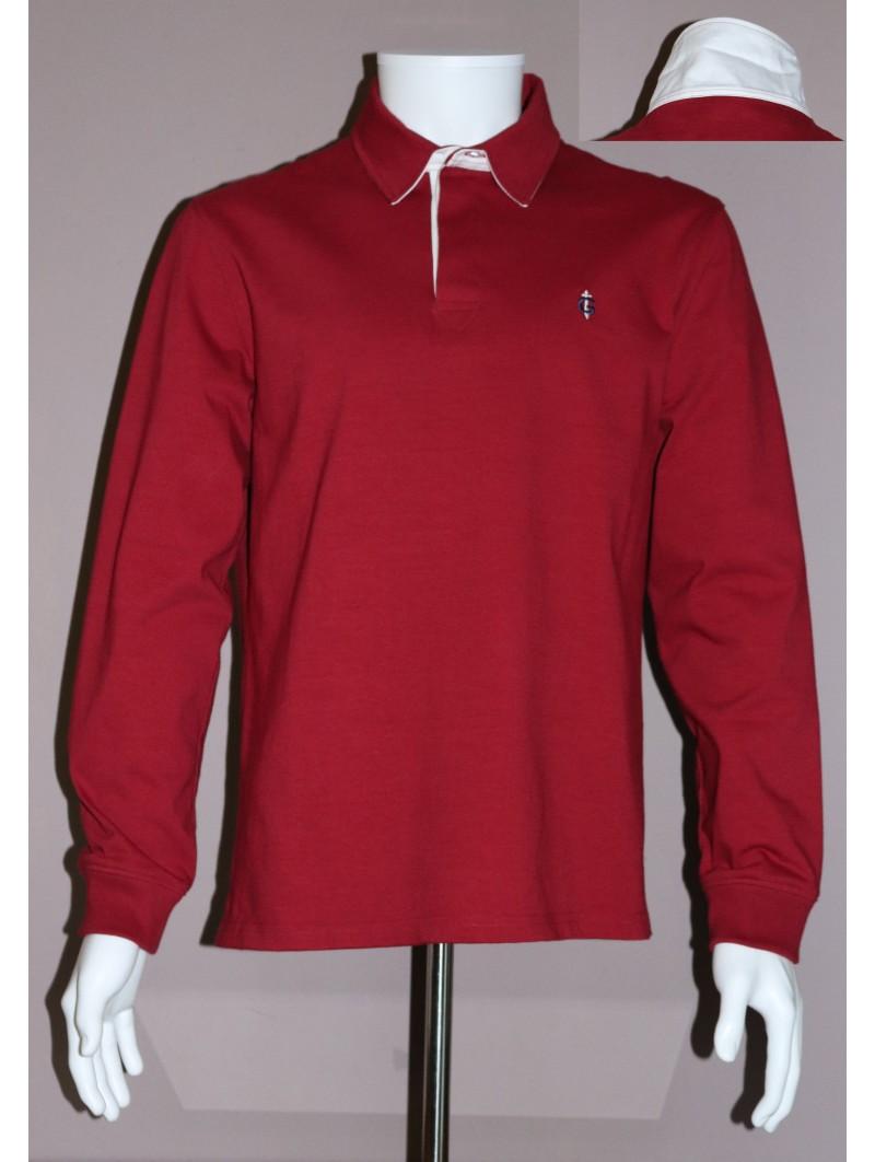 Polo rouge bordeaux manches longues GAULOIS FRANCE pour homme col blanc 100% conçu fabriqué en France