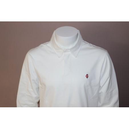 Polo blanc manches longues GAULOIS FRANCE pour homme  100% conçu fabriqué en France revers de col blanc sergé de coton