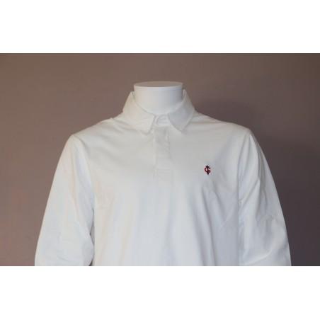 Polo blanc manches longues GAULOIS FRANCE pour homme  100% conçu fabriqué en France revers de col drapeau