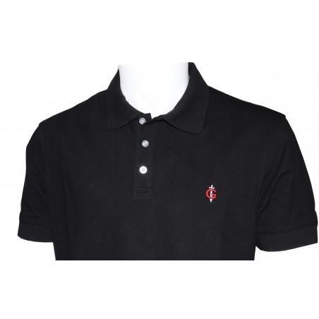 polo noir FRANCE pour homme 100% coton manches courtes conçu en FRANCE GAULOIS marque déposée Maille piquée coton
