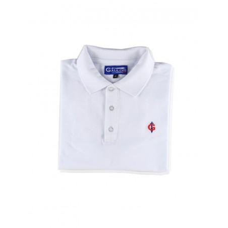 polo blanc pour homme 100% coton manches courtes conçu en FRANCE GAULOIS HOMME. Maille piquée 100% coton