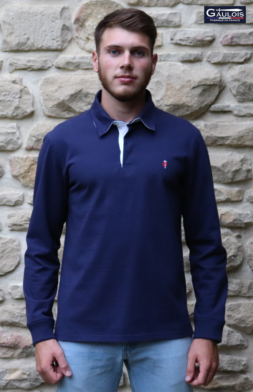 polo homme GAULOIS manches longues made in france fabriqué en france